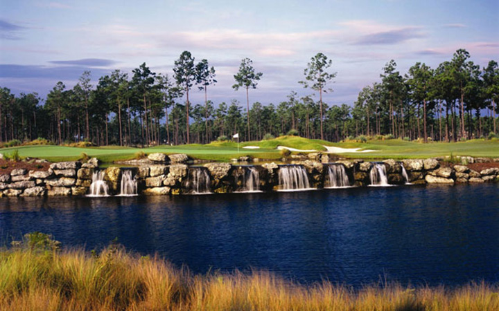 Myrtle Beach golf course with waterfall